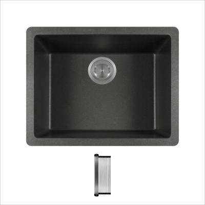 All-in-One Dual Mount Granite Composite 21-5/8 in. Single Bowl Kitchen Sink in Black