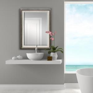31.5 inch x 43.5 inch Grey with White Inner Decorative Mirror by