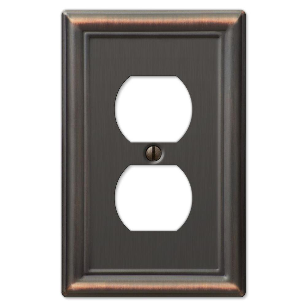 Amerelle Chelsea 1 Duplex Wall Plate - Aged Bronze-DISCONTINUED