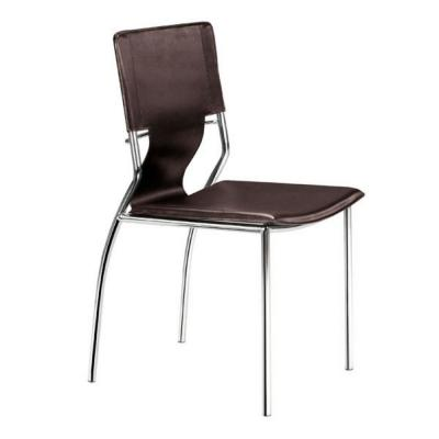 HomeRoots Julia Espresso Leatherette Chromed Steel Dining Chair 4-Piece, Brown