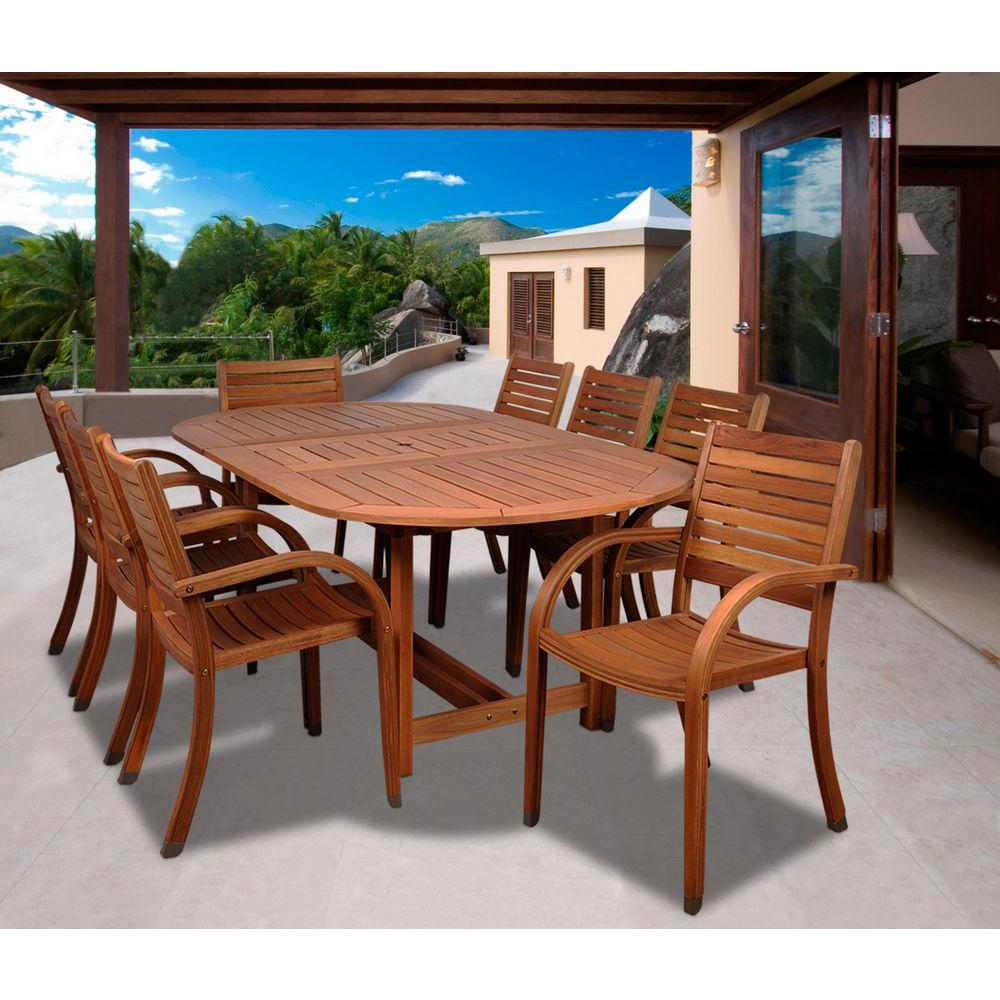 Arizona Oval 9-Piece Eucalyptus Patio Dining Set