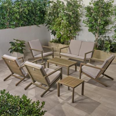 Leah Grey 7-Piece Wood Patio Conversation Seating Set with Grey Cushions