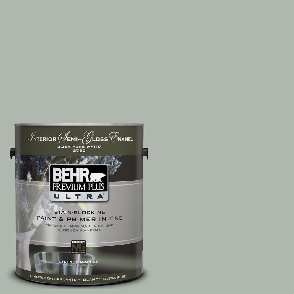 BEHR Premium Plus Ultra 1-gal. #UL210-7 Verdigris Interior Semi-Gloss Enamel Paint