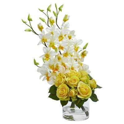Indoor Rose and Dendrobium Orchid Artificial Arrangement