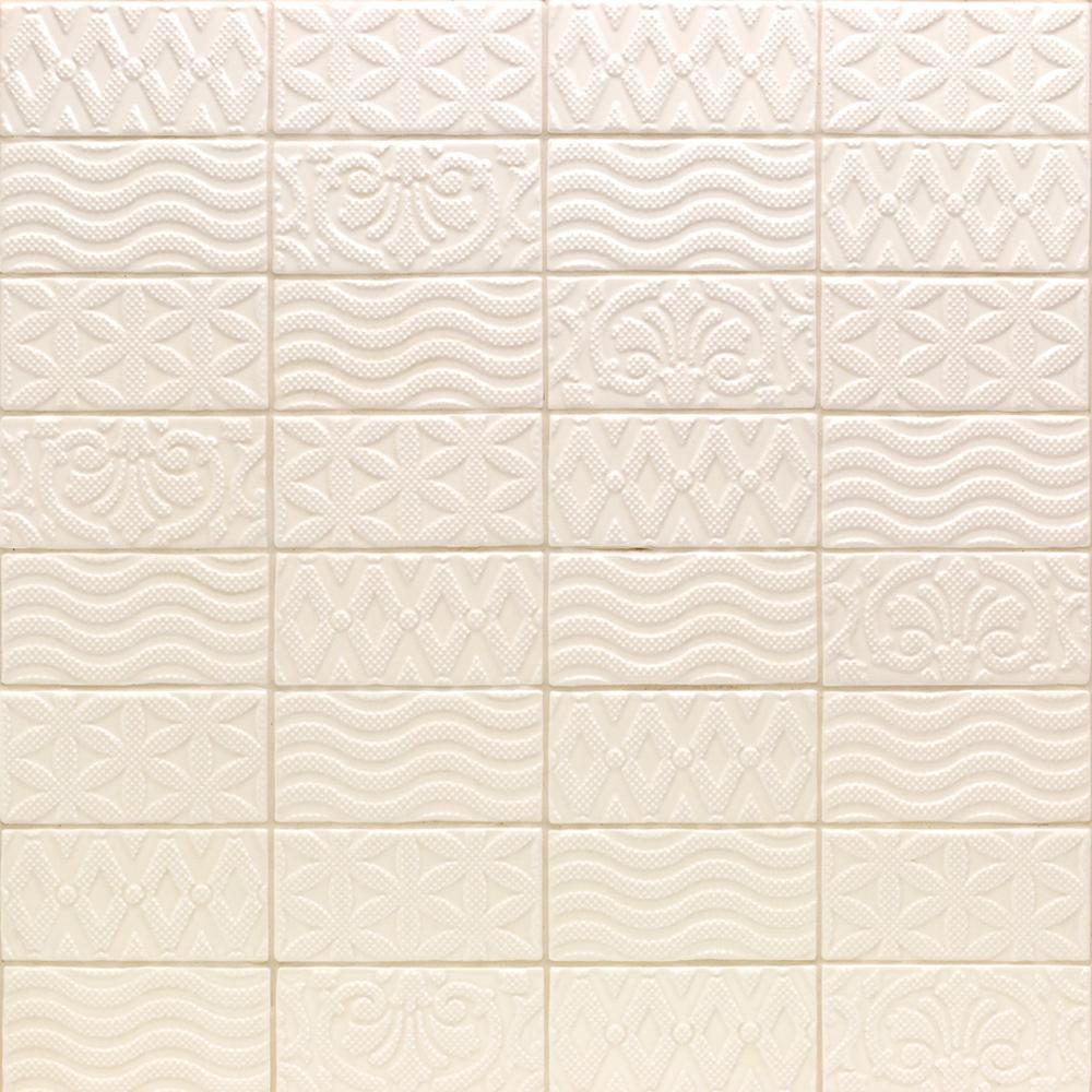 Catalina Deco Vanilla 3 in. x 6 in. x 8 mm Ceramic Wall Subway Tile