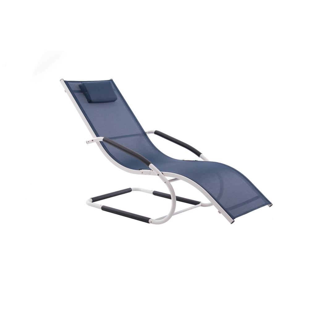 Vivere Matte White Aluminum Outdoor Lounge Chair in Navy ...