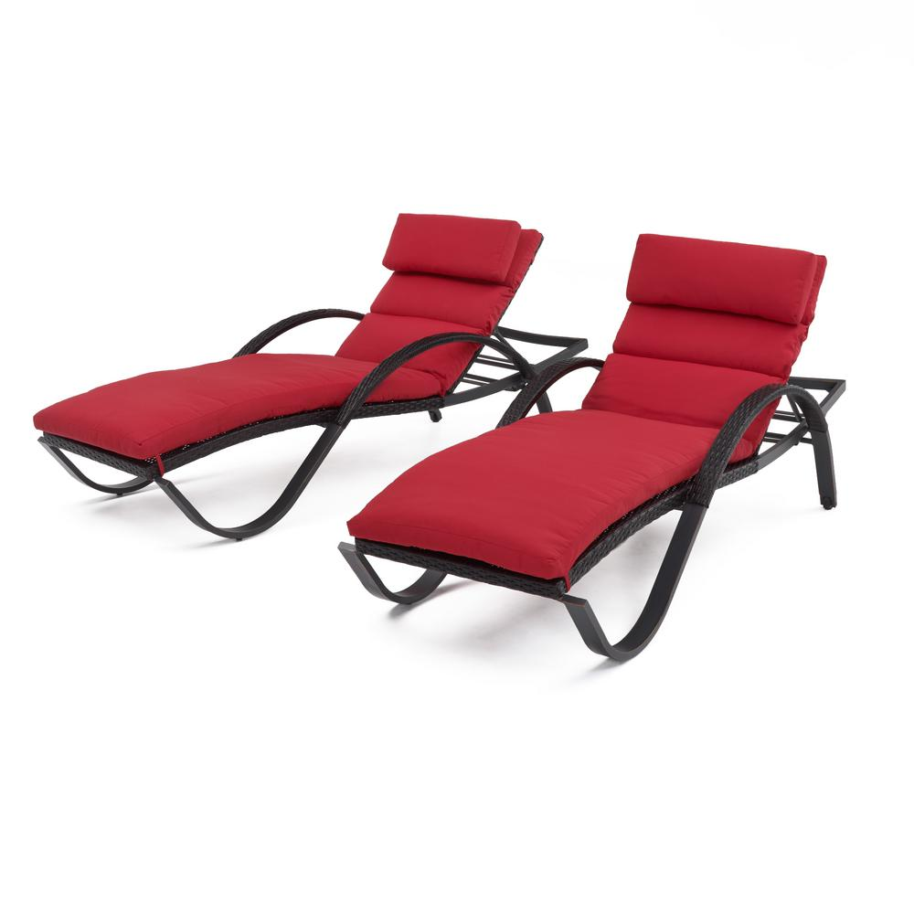 Deco 2-Piece Wicker Outdoor Chaise Lounge with Sunbrella Sunset Red Cushions