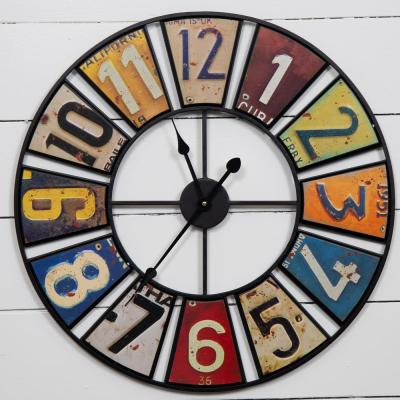 Vintage License Plates Multi-Color Clock