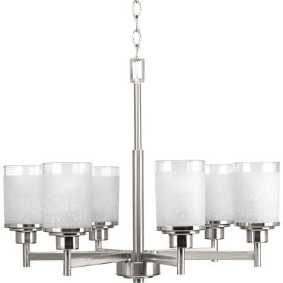 Alexa Collection 6-light  Brushed Nickel Chandelier with Etched Linen Glass Shade