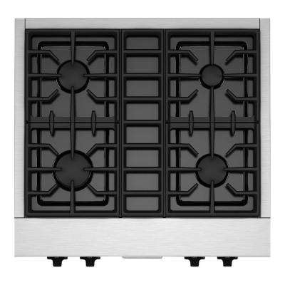 30 in. Gas Cooktop in Stainless Steel with 4 Burners including 20000-BTU Ultra Power Dual-Flame Burner