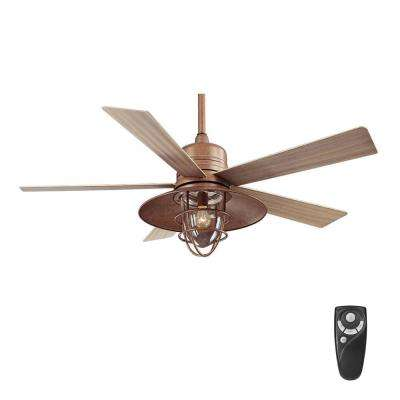 Grayton 54 in led indoor outdoor rustic copper ceiling fan with clear glass shade