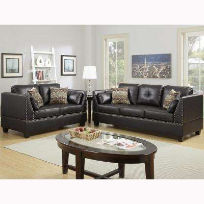 Abruzzo 2 Piece Espresso Sofa Set Bonded Leather