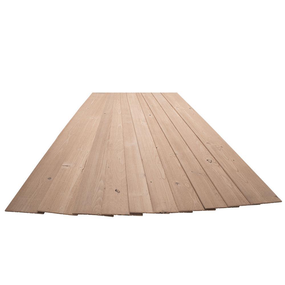 3/16 in. x 5-1/8 in. x 46-1/2 in. Natural Tan Rustic Pine Wood Plank Self-Adhesive (10-Pack)