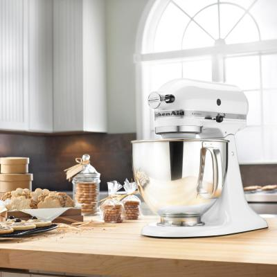 KitchenAid-Artisan 5 Qt. 10-Speed White Stand Mixer with Flat Beater, 6-Wire Whip and Dough Hook Attachments