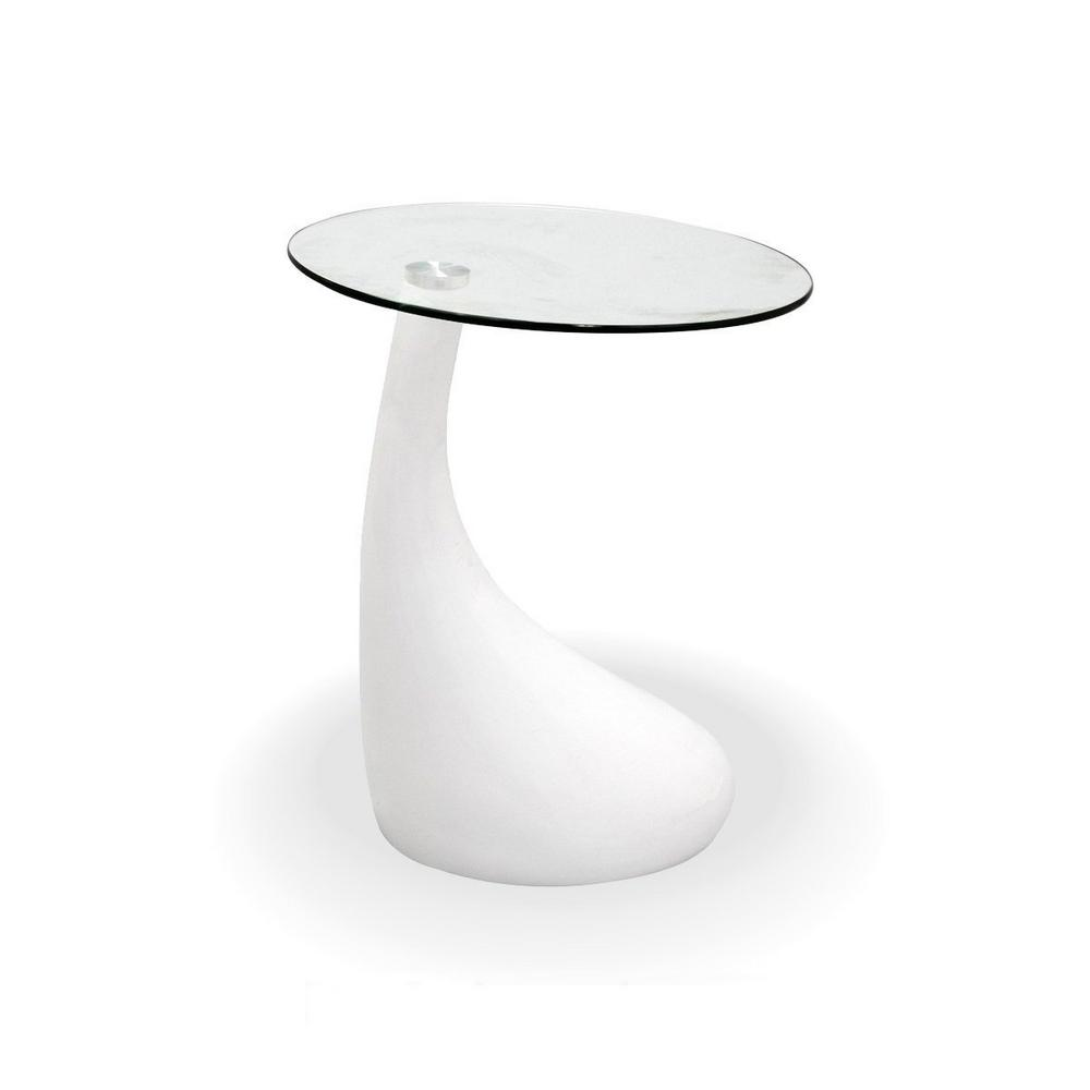 Fab Glass And Mirror Teardrop Side Table White Color With 18 In