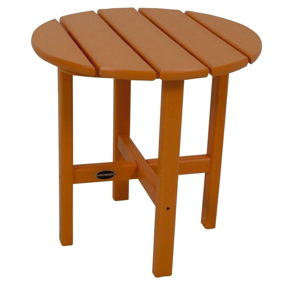 Tangerine Round Patio Side Table