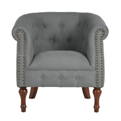 Whitley Walnut Teal Wood Accent Chair with Nailheads and Tufting (32.09 in. W x 30.71 in. H)