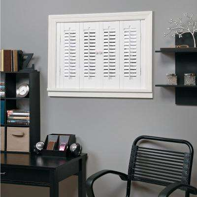 White 1-1/4 in. Traditional Faux Wood Interior Shutter 29 to 31 in. W x 20 in. L