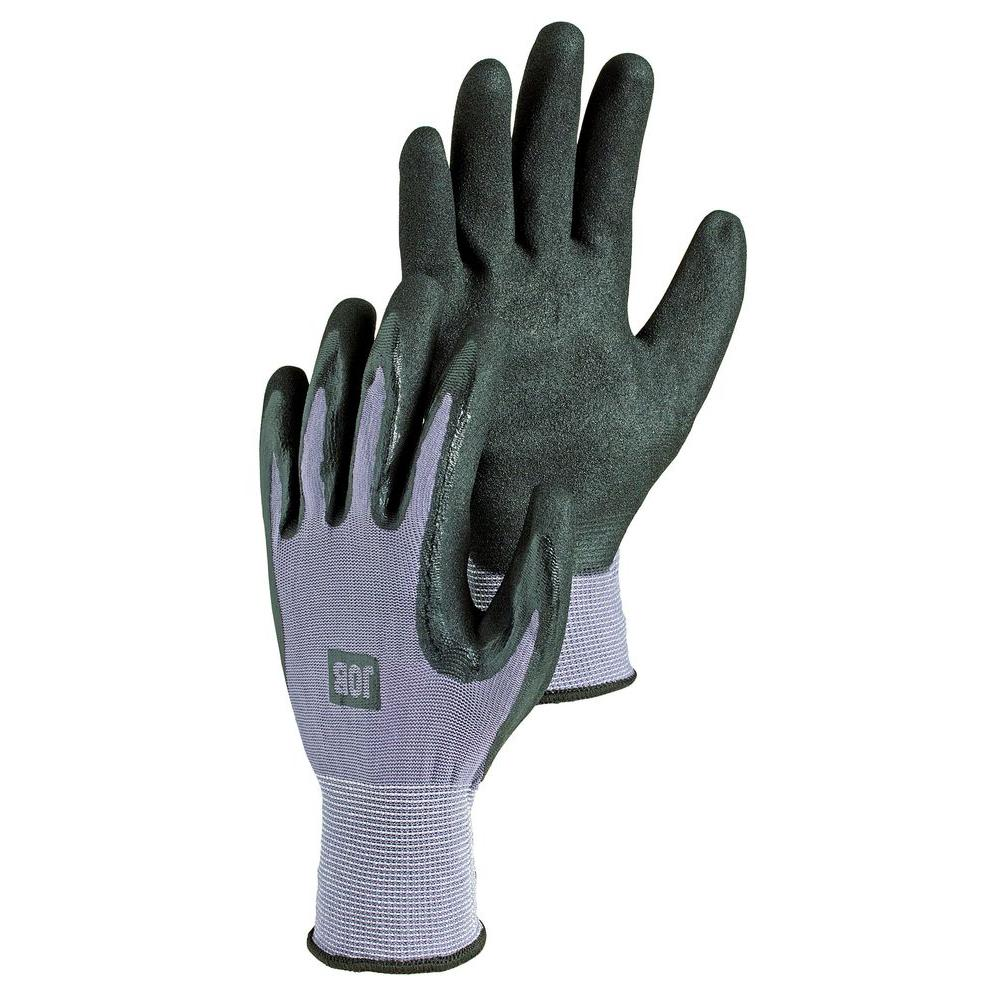 Hestra JOB Vismut Size 9 Large Tear / Oil / Dirt Resistant Nitrile Dipped Stretch Nylon Glove in Black-DISCONTINUED