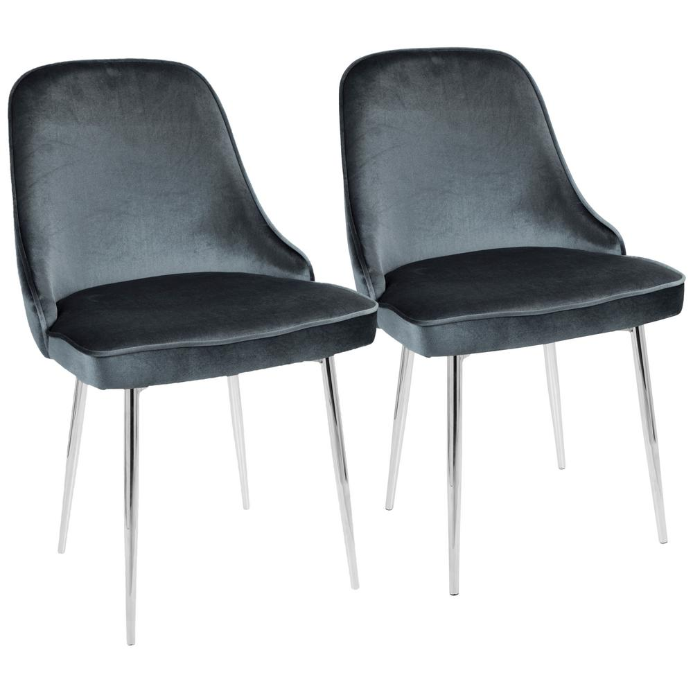 Lumisource Chrome And Blue Marcel Velvet Dining Chair Set