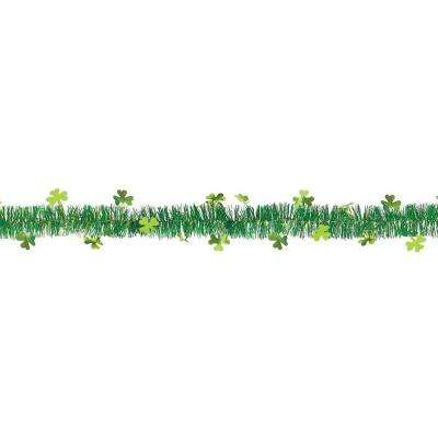 1.75 in. x 9 ft. St. Patrick's Day Green Tinsel Shamrock Garland (7-Pack)