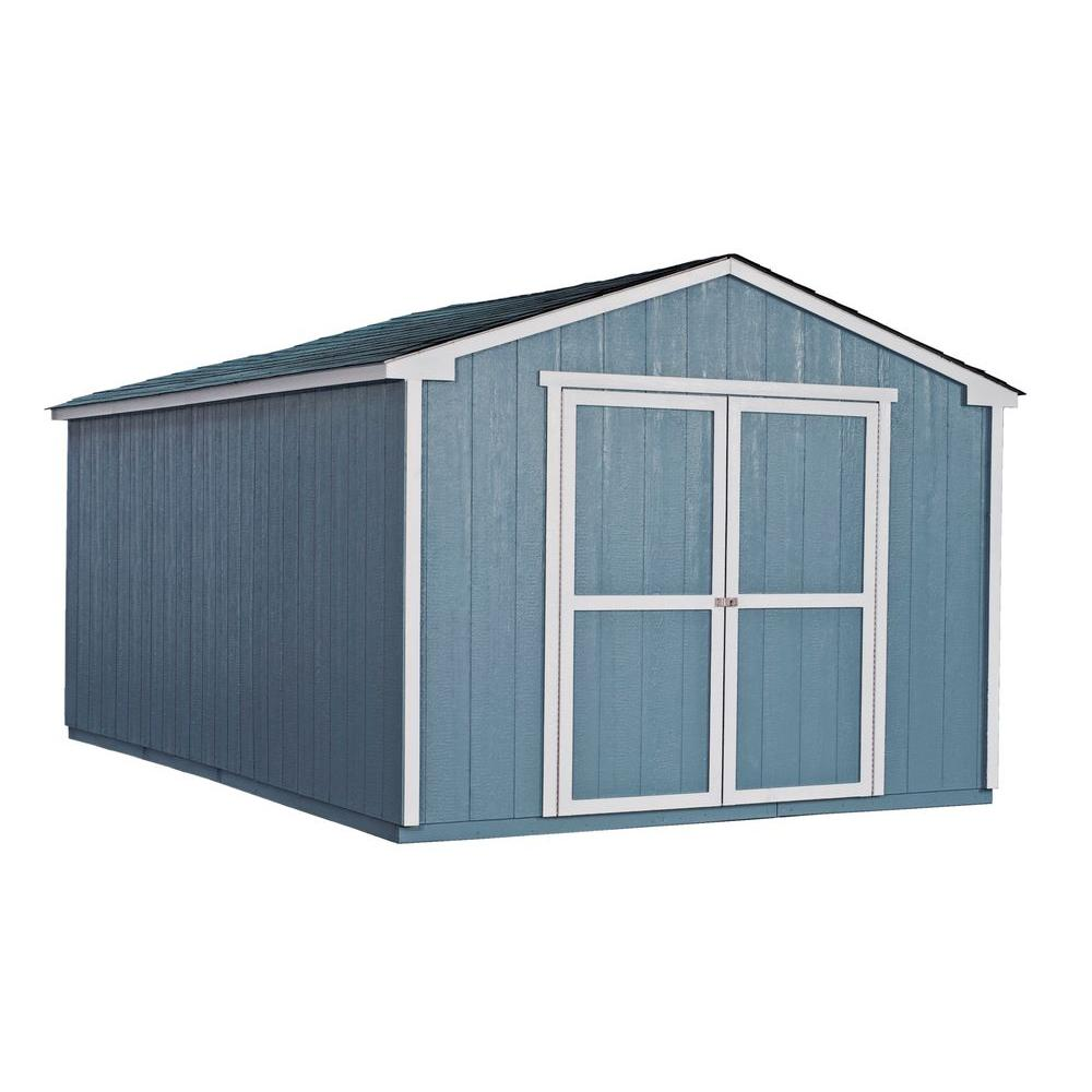 Handy Home Products Cumberland 10 ft. x 16 ft. Wood Shed Kit with ...