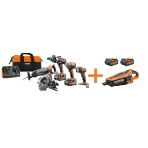 Ridgid 18-Volt GEN5X Cordless Lithium-Ion Combo Kit (6-Tool) with (4) 4.0Ah HYPER Lithium-Ion Batteries,... by RIDGID