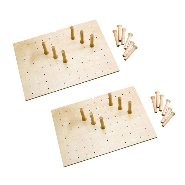 30 in. x 21 in. 12-Peg Board Natural Maple System for Drawers (2-Pack)