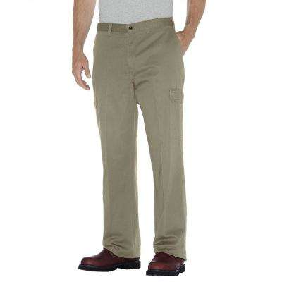 Men's 46 in. x 32 in. Khaki Loose Fit Straight Leg Cargo Pant