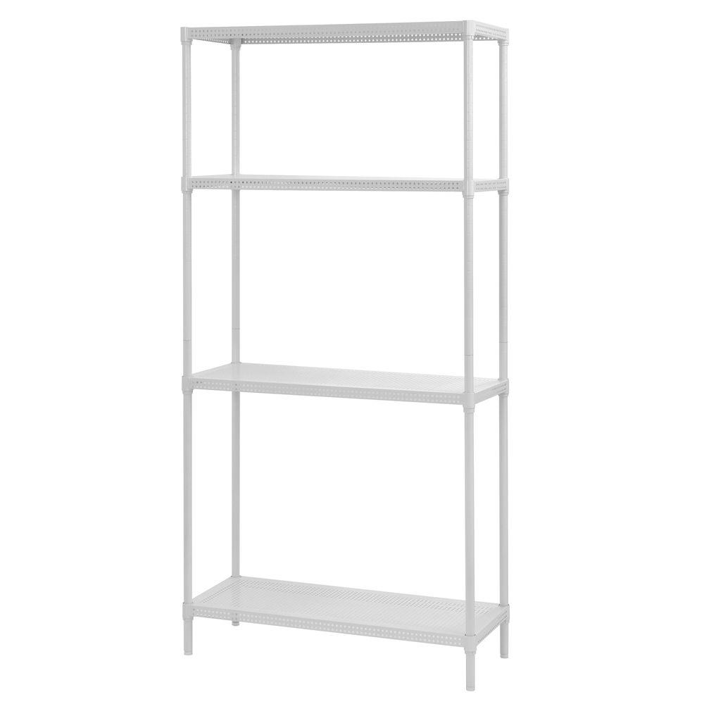 Edsal 71 in. H x 35 in. W x 14 in. D 4-Tier Perforated Steel Shelving in White