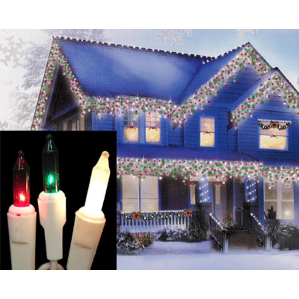 Red And White Christmas Lights.Sienna Set Of 100 Red Green And Frosted Clear Mini Icicle Christmas Lights White Wire