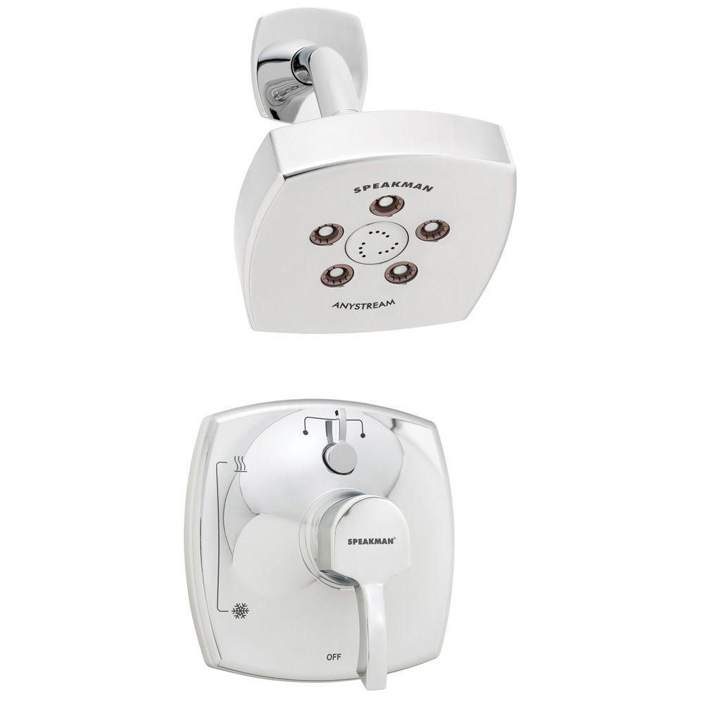 Speakman Tiber 1-Handle 3-Spray Shower Combination in Polished Chrome (Valve Included)