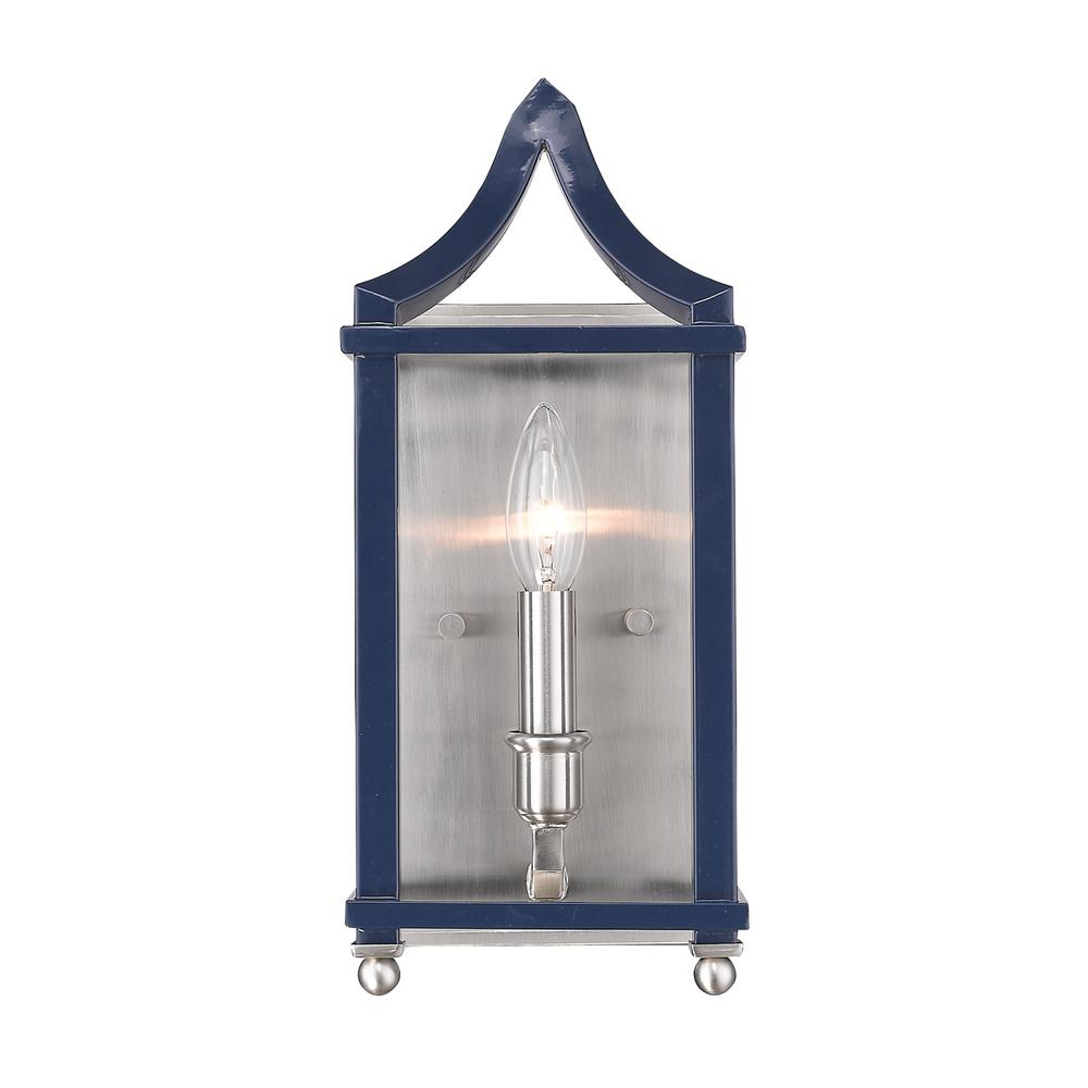 Leighton 1-Light Pewter and Navy Blue Wall Sconce Light
