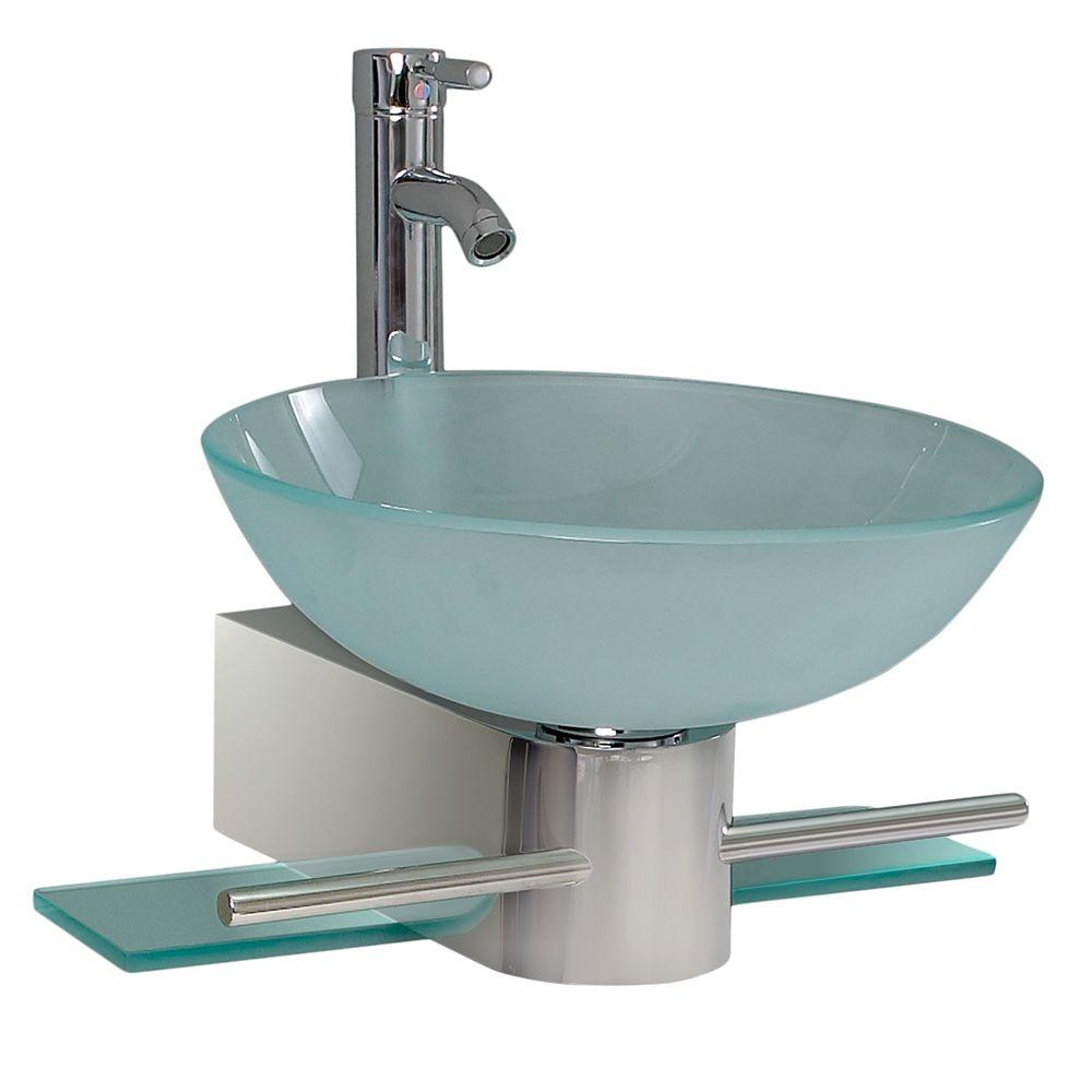 Fresca Cristallino Vessel Sink In Frosted Glass With Stand In Chrome