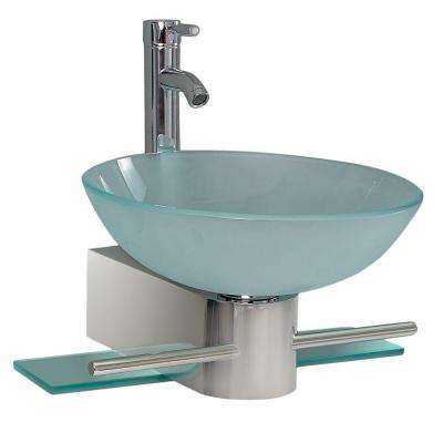 Cristallino Vessel Sink in Frosted Glass with Stand in Chrome