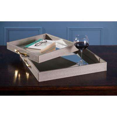 Beth Kushnick Beige Mirrored Tray (Set of 2)