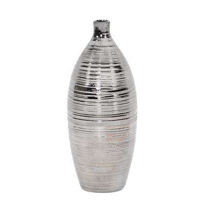 Gray Metallic Pewter Striped Bottle Vase, Medium