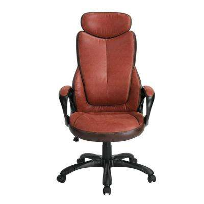 Sebastian Brown Faux Leather Height Adjustable Swivel Office Chair