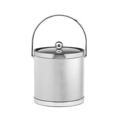Sophisticates 3 Qt. White and Polished Chrome Ice Bucket with Bale Handle and Metal Cover