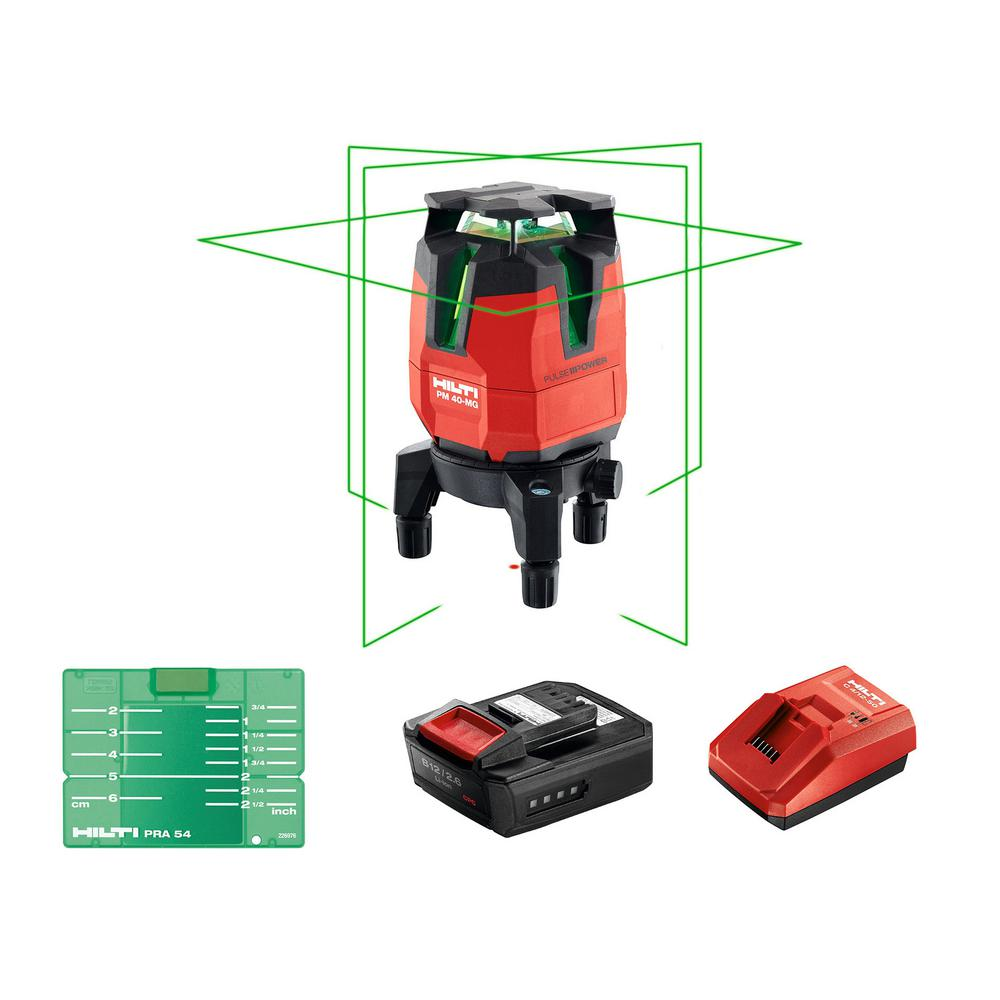Hilti PM 40-MG 130 ft. Multi-Line Green Laser Level Kit with Battery Pack, Charger and Target Plate