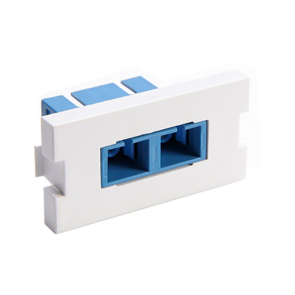 Duplex SC Fiber Adapter Zirconi Amp Ceramic Sleeve 1-Unit High Multimedi Amp Outlet System Module, White
