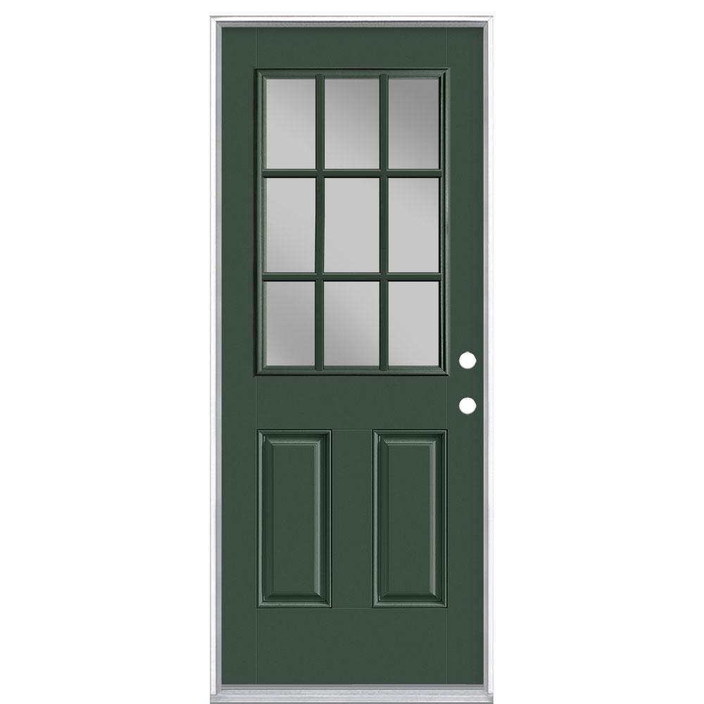 32 in. x 80 in. 9 Lite Conifer Left Hand Inswing Painted Smooth Fiberglass Prehung Front Exterior Door, Vinyl Frame