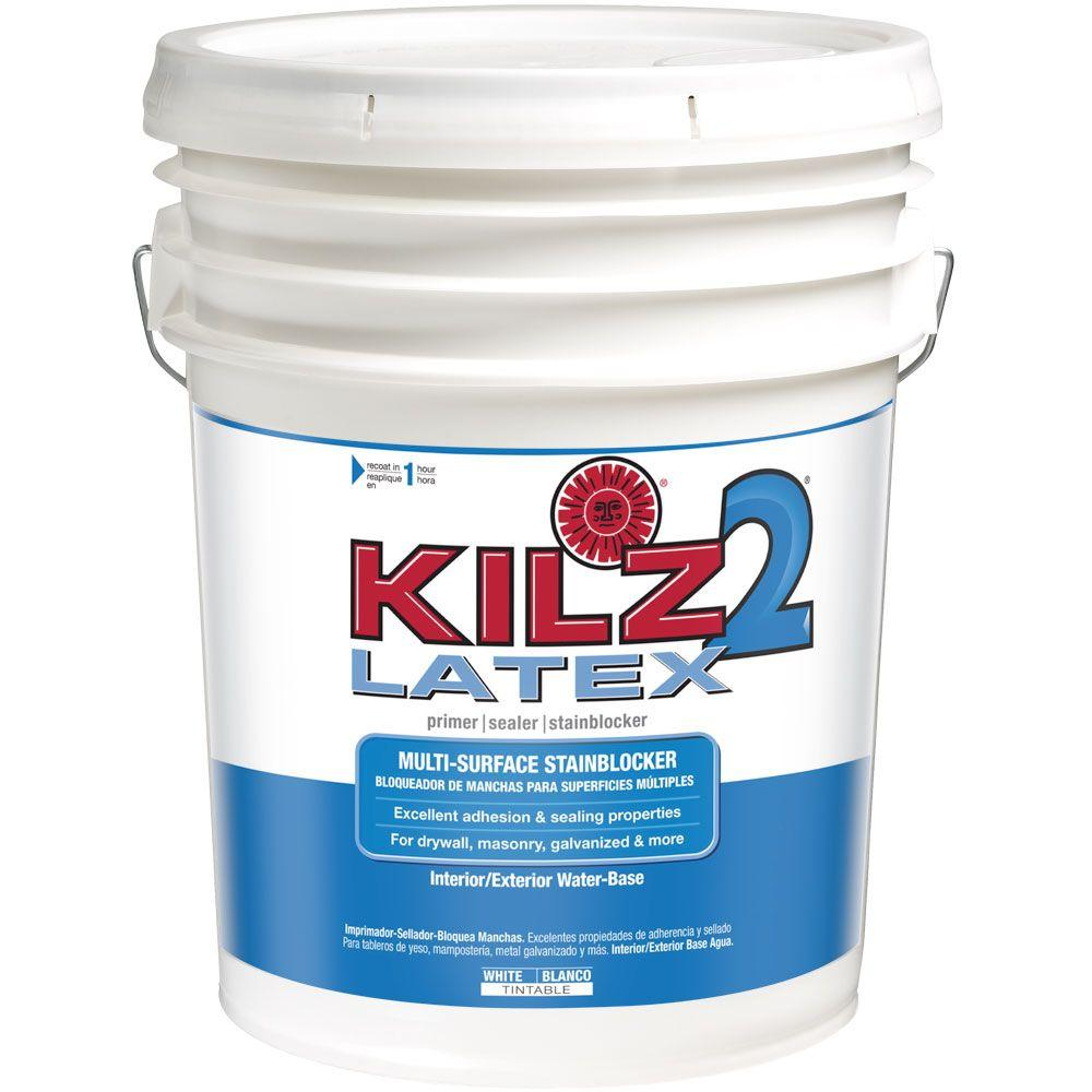 Kilz 2 Latex 5 Gal White Interior Exterior Multi Surface Primer Sealer And Stain Blocker