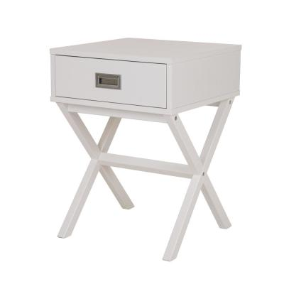 21.85 in. White Modern Shape X-Side Table with Drawer