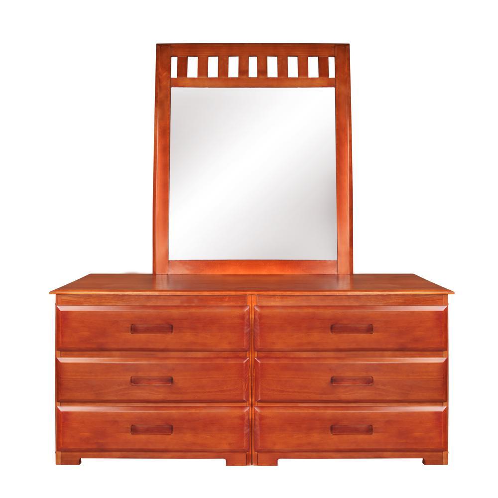 Solid Pine 6-Drawer Honey Dresser with Mirror