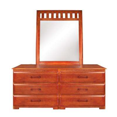 Solid Pine 6-Drawer Honey Dresser with Mirror