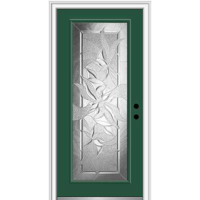 36 in. x 80 in. Impressions Left-Hand Inswing Full Lite Decorative Glass Painted Steel Prehung Front Door