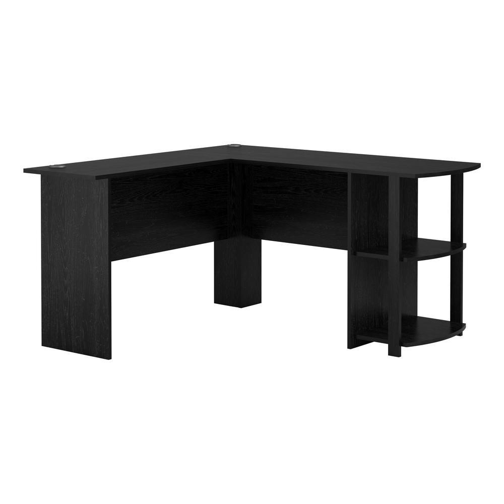 52 in. L-Shaped Black Oak Computer Desk with Shelf