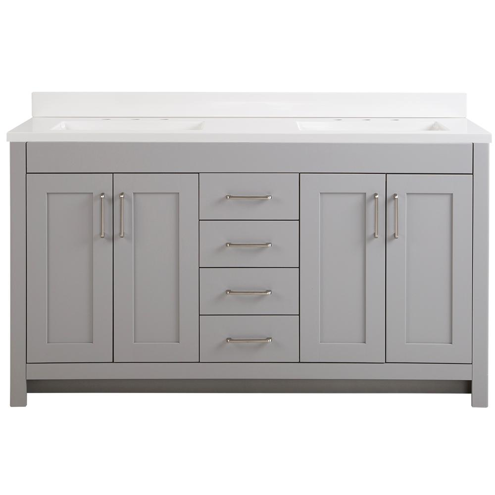 Home Decorators Collection Westcourt 61 in. W x 22 in. D Vanity in Sterling Gray with Cultured Marble Vanity Top in White with White Basins