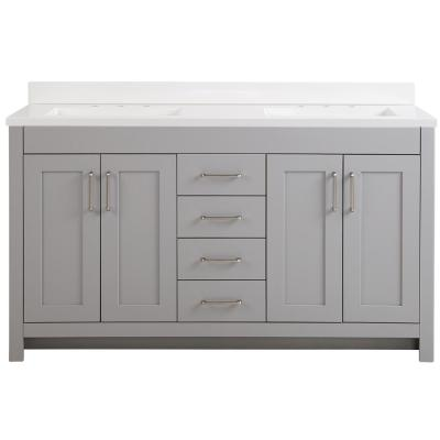 Westcourt 61 in. W x 22 in. D Bath Vanity in Sterling Gray with Cultured Marble Vanity Top in White with White Sinks
